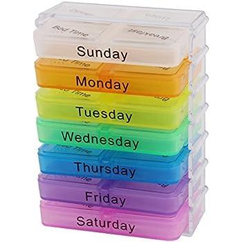 UNA semana eDealMax Holder 28 ranuras caja de la píldora del envase del caso del organizador del almacenaje Medicina colorido