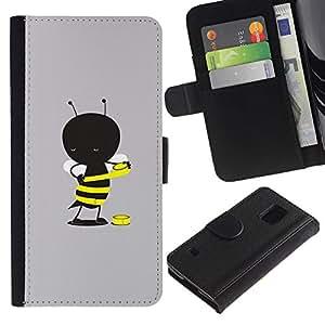 KingStore / Leather Etui en cuir / Samsung Galaxy S5 V SM-G900 / Gris de la historieta amarilla linda