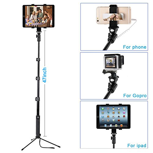 ohCome [Battery Free] 16.5-57'' Wired Handheld Aluminium Monopod -Use as Selfie Stick, Gopro Pole, Floor Tablet/Phone Tripod Stand | Fit for 3.5-10'' Tablets, iPhone, Android Phones, Gopro Hero Camera by ohCome