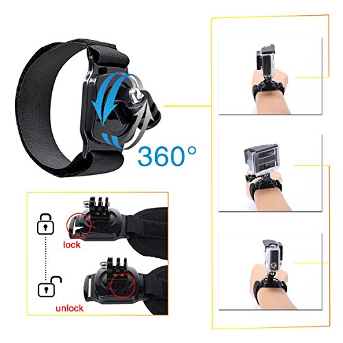 517O mzMjmL - VANWALK 25-1 Accessories Kit for Gopro 4,3+,3,2, SJ4000 SJ5000 SJ6000 Camera / Chest Harness Mount / Head Strap / Gorpo Selfie Stick / Bike Handlebar Mount / Three-way Adjustable Pivot Arm