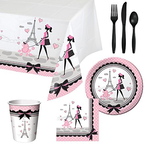 Party in Paris Tableware Birthday Party Supplies Bundle for 16 Guests | Includes Plates, Napkins, Cups, Tablecover, and Cutlery | Parisian Themed Birthday Party Supplies With Eiffel Tower Plates