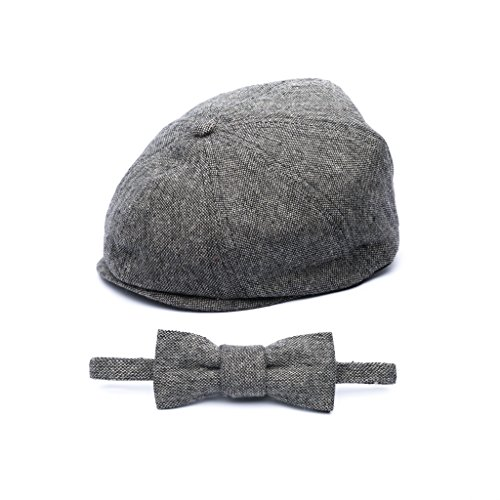 Born to Love Baby Caps and Bow Tie - (L 54cm, Gray newsboy (Tweed Driver Style Cap)