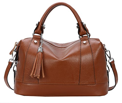 Womens Cross Handle Lady Leather Bags Heshe Tote Body Office Brown for Handbags Shoulder Dark Bag Top xWpnndR8Y