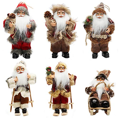 ament Santa Claus Christmas Standing Sleigh Skiing Holiday Figurine Collection Doll Penda Small Xmas Tree Hanging Decoration Traditional Handmade Set of 6 Pcs Assortment Pack ()