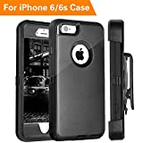 iPhone 6 Case, FOGEEK Heavy Duty Protective Combo Defender 360 Degree Rotary Belt Clip & Kickstand Case Cover Compatible for iPhone 6/6S (NOT Plus) (Black)