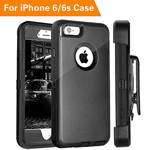 iPhone 6 Case, FOGEEK Heavy Duty Protective Combo Defender 360 Degree Rotary Belt Clip & Kickstand Case Cover Compatible for iPhone 6/6S (NOT Plus) (Black) by FOGEEK