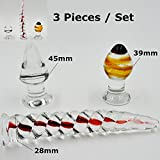 Clearance Sale 3 Pieces Pyrex Glass Dildo Fake Penis Butt Anal Plugs Sex Toys Set for Women Men Gay Adult Male Female Masturbation Products