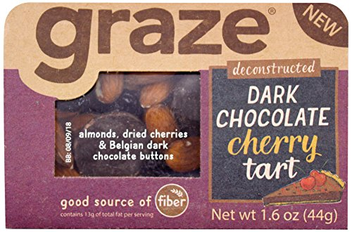 Dark Tart Chocolate (Graze Dark Chocolate Cherry Tart, Sweet Snack Mix with Almond Nuts, Dried Cherries and Belgian Dark Chocolate Buttons, 1.6 Ounce Box, 9 Pack)