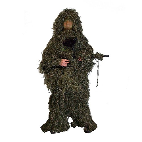 Boshen Woodland Camo Ghillie Suit Kit with Hood and Rifle Wrap