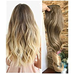 3/4 Full Head Clip in Hair Extensions Ombre One Piece 2 Tones Wavy Curly DL (Light ash brown to sandy blonde)