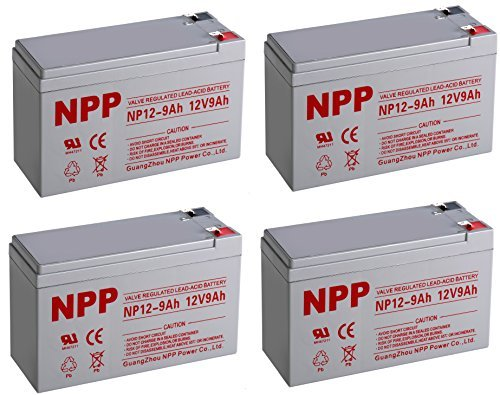 NPPower 12V 9Ah SLA Sealed Lead Acid Battery F2 Style Terminals / 4 Pack