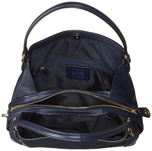 Leather 31 Coach Shoulder Edie Pebbled Bag Navy IBIq6aw1x