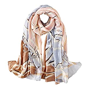 100% Silk Scarf – Women's Fashion Large Sunscreen Shawls Wraps – Lightweight Floral Pattern Satin for Headscarf&Neck