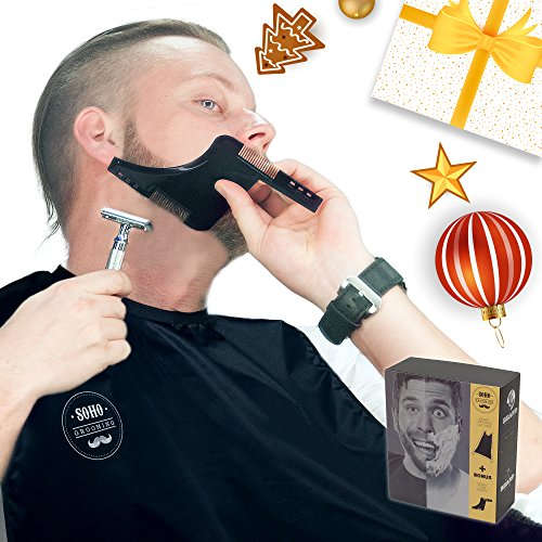 Beard Catcher w/ Beard Shaper comb + Beard Grooming Booklet! PREMIUM Packaging. PERFECT Boyfriend/Husband Gift! No Clogged Sinks. Easy Disposal. No - For Gifts Husbands