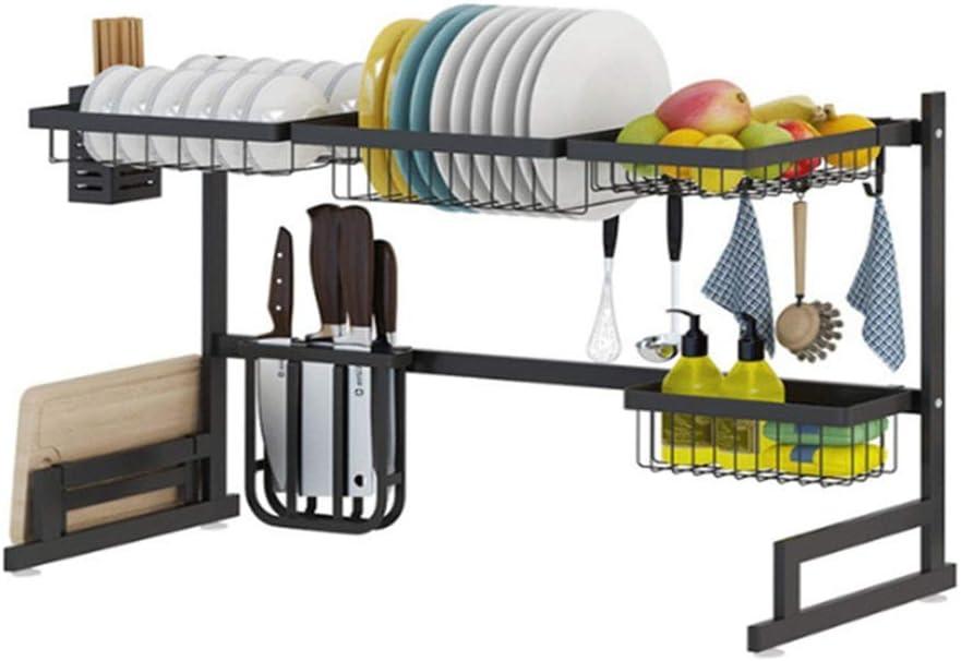 キッチン収納 食器乾燥棚オーガナイザー、オーバーシンクキッチンストレージシェルフ、ステンレス鋼の食器棚ステンレス食器棚 キッチン用品 (Color : Picture Color, Size : 85X32X52CM)