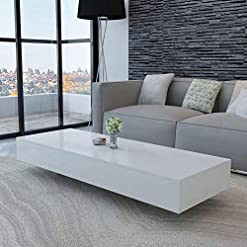 Living Room Rectangular Coffee Table Modern Elegant MDF High Gloss Coffee Table Side Table Living Room Home Furniture (White-45… modern coffee tables