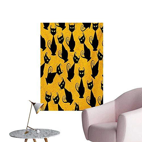 Anzhutwelve Vintage Art Decor Decals Stickers Black Cat Pattern for Halloween on Orange Background Celebration Graphic PatternsBlack Orange W24 xL32 Cool Poster for $<!--$24.60-->