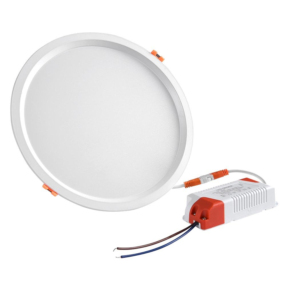 Yescom 8'' 30W Round LED Down Light, 6000K Cool White, 2800LM, Home Office Retrofit LED Recessed Lighting Fixture