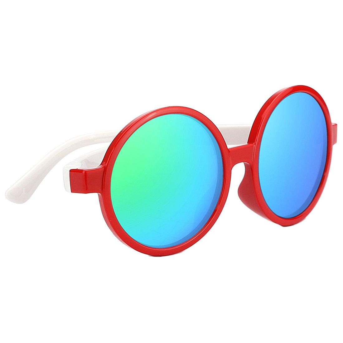 TIJN Kids Toddler Flexiable Rubber Polarized Round Sunglasses for Girl Boys (red & white)