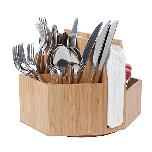 Bamboo Rotating Utensil Holder Portable Silverware Caddy, Condiment, Dining & Kitchen Organizer, Makeup Holder, Desktop, Classroom Supplies Organizer by MobileVision (Image #3)