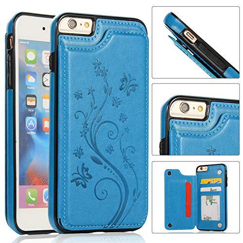 iPhone 6S Wallet Case,iPhone 6 Slim Fit Wallet Case for Women/Men,Aprilday Premium Leather Purse Case [Butterfly Flower] Durable Shockproof Cover with Wallet&Card Holder&Kickstand -4.7in Blue