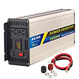 SUG 2500W(Peak 5000W) Power Inverter Pure Sine Wave DC 12V to AC 110V 120V Converter Back Up Power Supply for Refrigerators, Microwaves, Coffee Makers, Chainsaws,Vacuums, Power Tools
