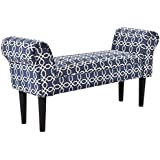 "Giantex Upholstered Armed Bench For Bedroom Comfortable Rolled Arm Hand End Bench Chair 40""×12.5""×20"" Children Size (Blue&White)"