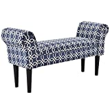 """Giantex Upholstered Armed Bench For Bedroom Comfortable Rolled Arm Hand End Bench Chair 40""""×12.5""""×20"""" Children Size (Blue&White)"""