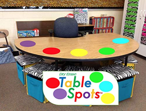 Pet Vinyl (Table Spots for Teachers - Best Quality PET Vinyl! No Staining, No Shadows, Complete Erase Every Time! Classroom Use All Year! Dry Erase Only, 10 Pack Multicolor Circles, Wall Stickers, Decals)