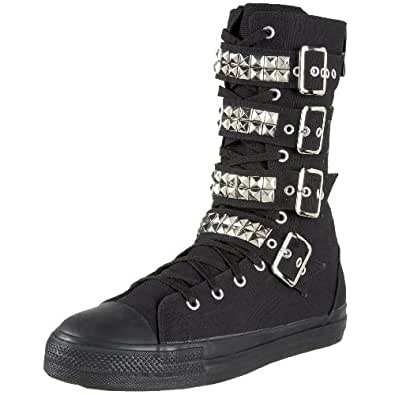 DEMONIA Goth Punk Mens Unisex Studded Canvas Sneaker Boot DEVIANT-203 Black