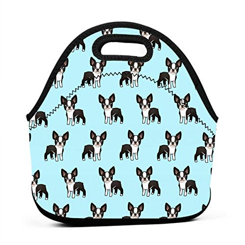 ONUPMIN Ideal Gifts - Insulated Lunch Bag Cute Boston Terrier Bento Lunch Bag Thermal Cooler Lunch Pouch with Portable Carrying Bag for Men &Women &Kids ()