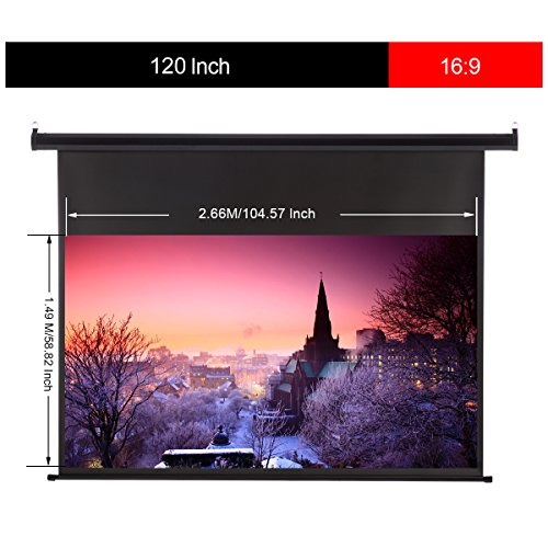 Excelvan Portable 120 Inch 16:9 1.2 Gain Wall Ceiling Electric Motorized HD 4K Indoor Outdoor Projector Screen with Remote Control for Family Home Theater and Office by Excelvan (Image #1)