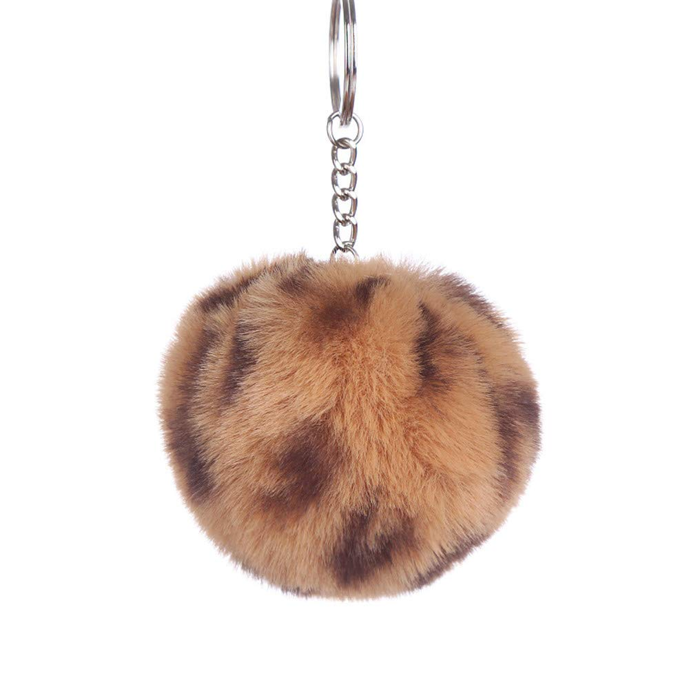 Aobiny Keychain, Fashion Leopard Hair Ball Keychain Men's and Women's Bags Car Pendant Decoration Pendant Gift (Coffee) by Aobiny (Image #1)
