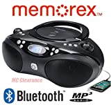 Memorex Bluetooth CD/MP3 Boombox Flexbeats AM/FM Tuner with Digital Display MP3862 - Black (Certified Refurbished)