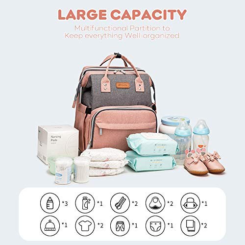 517O2iBXf7L YOOFOSS Diaper Bag Backpack, Baby Nappy Changing Bags Multifunction Travel Back Pack with Changing Pad & Stroller Straps, Large Capacity, Waterproof and Stylish (Pink)    Product Description