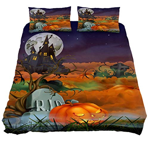 LORVIES Happy Halloween Background Duvet Cover Set, 3 Piece - Microfiber Comforter Quilt Bedding Cover with Zipper, Ties, Decorative Bedding Sets with Pillow Shams for Men Women Boys Girls Kids Teens]()