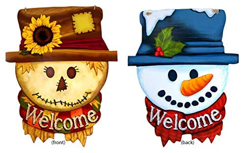 Reversible Seasonal Holiday Scarecrow and Snowman Heads Hanging Welcome Door Sign, 18 1/2 Inch