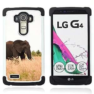 For LG G4 H815 H810 F500L - Elephant Africa Nature Summer Tusk /[Hybrid 3 en 1 Impacto resistente a prueba de golpes de protecci????n] de silicona y pl????stico Def/ - Super Marley Shop -