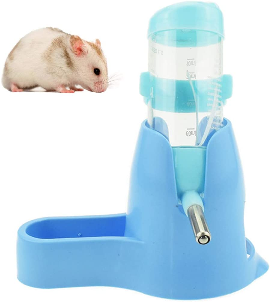 3 in 1 Hamster Hanging Water Bottle Pet Auto Dispenser with Base for Dwarf Hamster Mouse Rat Hedgehog (80ML, Blue)