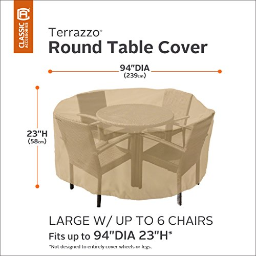 Amazon.com  Classic Accessories Terrazzo Round Outdoor Table u0026 Chair Set Cover - All Weather Protection Outdoor Furniture Cover Large  Patio Furniture ...  sc 1 st  Amazon.com & Amazon.com : Classic Accessories Terrazzo Round Outdoor Table ...
