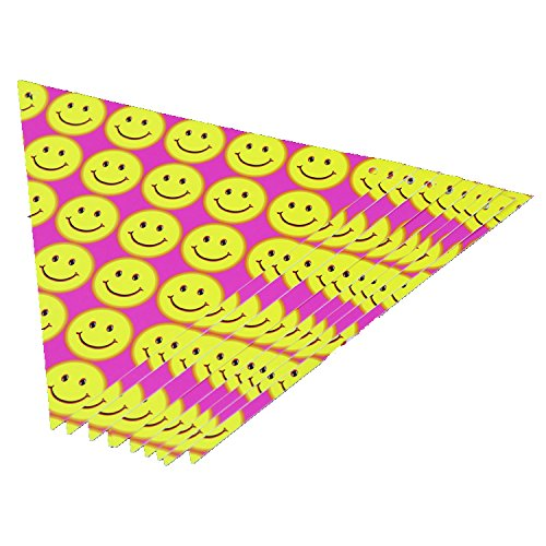 WallyE Party Supplies Smiley Face Paper Banner Pennant Bunting for Birthday Party, (Smiley Face Party)