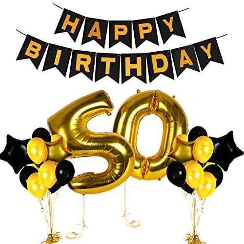 50th Happy Birthday Gifts Ideas Banners for Golden Anniversary Wedding Bday Decorations Balloons Photo Booth Props and Fabulous Decor Hollywood Supplies