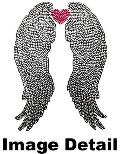 heavenly angel wings with pink love heart gem crystal studded rhinestone bling car truck suv