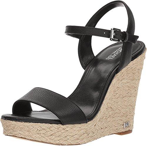 Michael Michael Kors Jill Wedge Leather/Jute Sandals Black, Black, Size 10.0