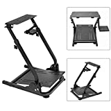Cheap Simulation Driving Bracket Racing Simulator Steering Wheel Stand,Racing Frame Pro Cockpit for Logitech G25 G29 G27 (Black)