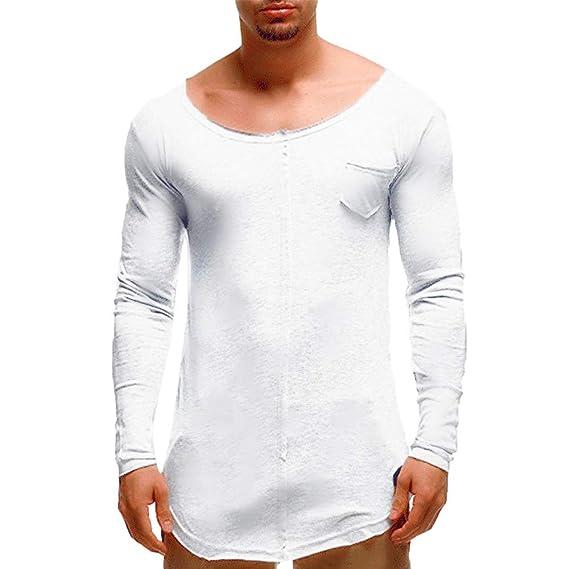 Yvelands Liquidación de Camisas para Hombres, Pantalones de Manga Larga con Bolsillo en Forma de