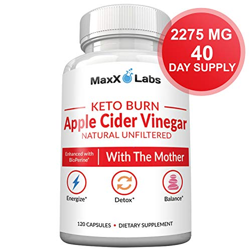 Apple Cider Vinegar Capsules with Mother + Keto BHB - 2275mg of Unfiltered, Pure, Natural, Detox ACV Keto Burn Formula - Fat Burners for Women & Men Potent Weight Loss Pills - Gluten-Free Supplements