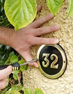 Round Black and Brass House Numbers 1-60 - Superior Quality (54)