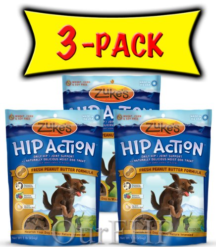 3 Packs Zuke's Hip Action with Glucosamine and Chondroitin – PEANUT BUTTER (3 lb), My Pet Supplies