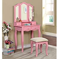 1PerfectChoice Janelle Vanity Makeup Table Set Tri-Folding Bench Mirror Jewelry Hutch Drawers